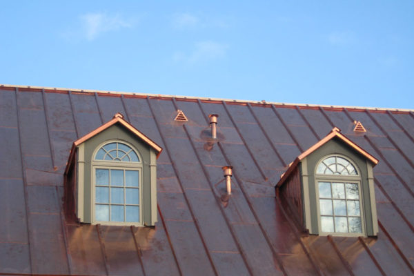 Copper roofing strips